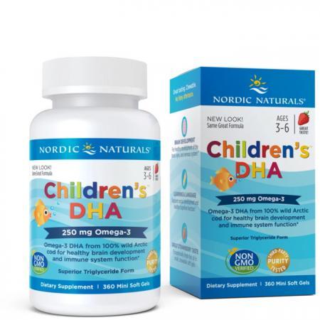 Nordic Naturals Children's DHA 250 mg, 360 капсул - клубника