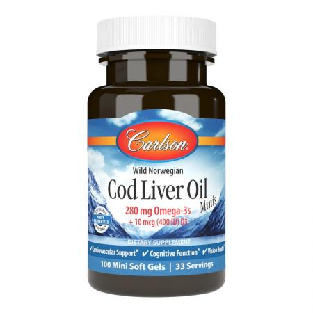 Carlson Labs Cod Liver Oil Gems Mini, 100 капсул