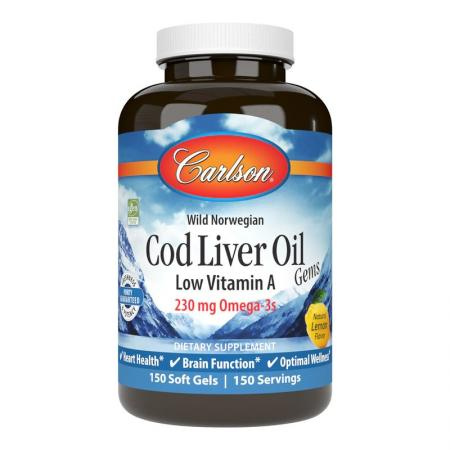 Carlson Labs Cod Liver Oil Gems Low Vitamin A, 150 капсул