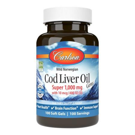 Carlson Labs Cod Liver Oil Gems Super 1000 mg, 100 капсул