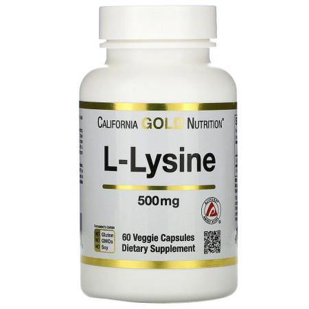 California Gold Nutrition L-Lysine, 60 вегакапсул