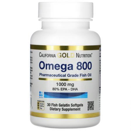 California Gold Nutrition Omega 800, 30 рыбных капсул