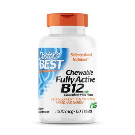 Doctor's Best Fully Active B12 1000 mcg, 60 жевательных таблеток