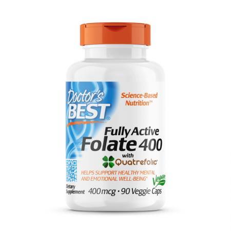 Doctor's Best Fully Active Folate 400 mcg, 90 вегакапсул