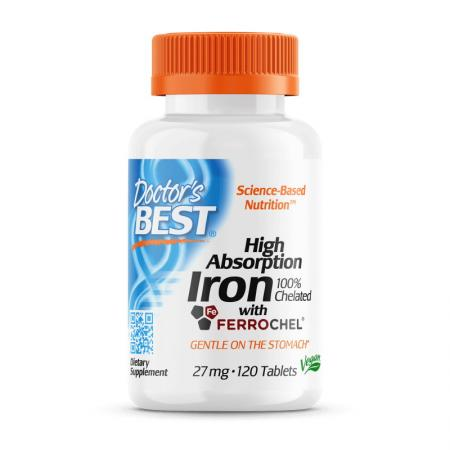 Doctor's Best Iron 27 mg High Absorption, 120 таблеток