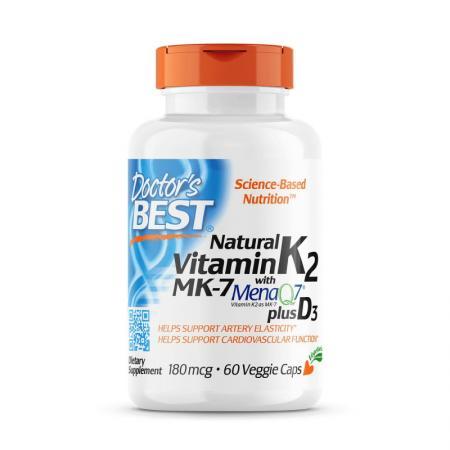 Doctor's Best Natural Vitamin K2 MK-7 + D3, 60 капсул