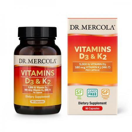 Dr. Mercola Vitamins D3 & K2 5000 IU, 90 капсул