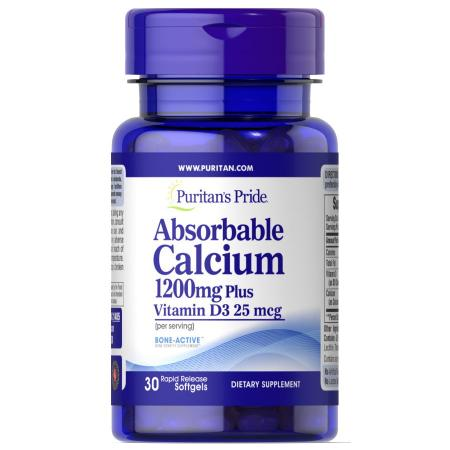 Puritan's Pride Absorbable Calcium with Vitamin D, 30капсул
