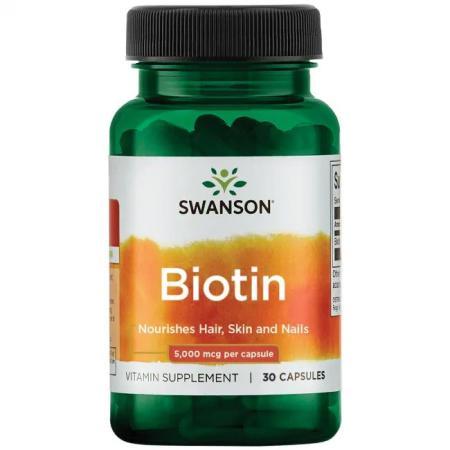 Swanson Biotin 5000 mcg, 30 капсул