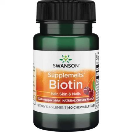 Swanson Biotin 5000 mcg, 60 жевательных таблеток