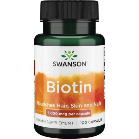 Swanson Biotin 5000 mcg, 100 капсул