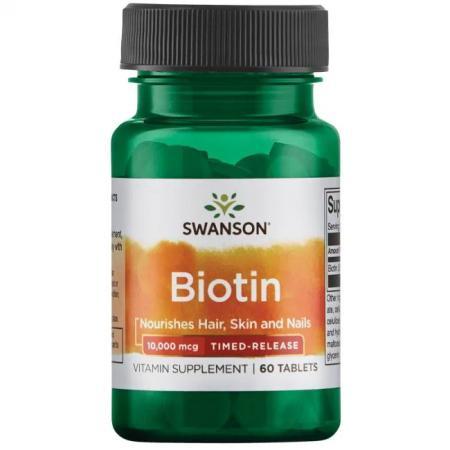 Swanson Biotin 10000 mcg Timed-Release, 60 таблеток