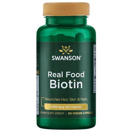 Swanson Biotin 2500 mcg Real Food, 90 вегакапсул