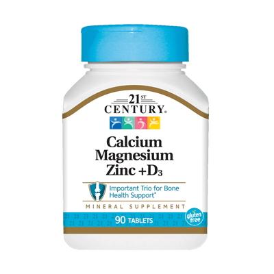 21st Century Calcium Magnesium Zink + D3, 90 таблеток