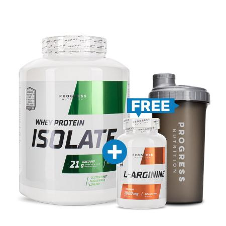 Progress Nutrition Whey Protein Isolate, 1.8 кг + L-Arginine. 60 капсул + Шейкер, 700 мл, SALE