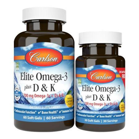 Carlson Labs Elite Omega-3 plus D3 & K2, 60+30 капсул