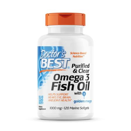 Doctor's Best Purified & Clear Omega 3 Fish Oil, 120 капсул