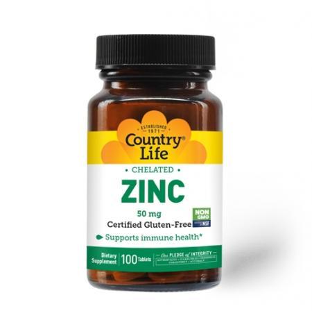 Country Life Zinc Chelated 50 mg, 100 таблеток