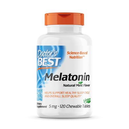 Doctor's Best Melatonin 5 mg, 120 жевательных таблеток - мята