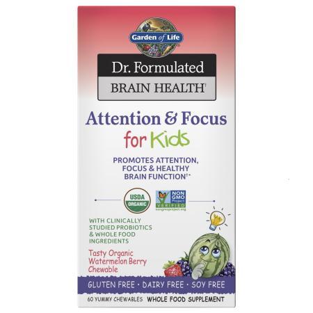 Garden of Life Dr. Formulated Attention & Focus For Kids, 60 жевательных таблеток